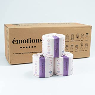 Emotions Org - 100% Recycled Toilet Paper 3 Ply - 370 Sheets per Roll - Box of 20 Toilet Tissues Roll Individually Wrapped...
