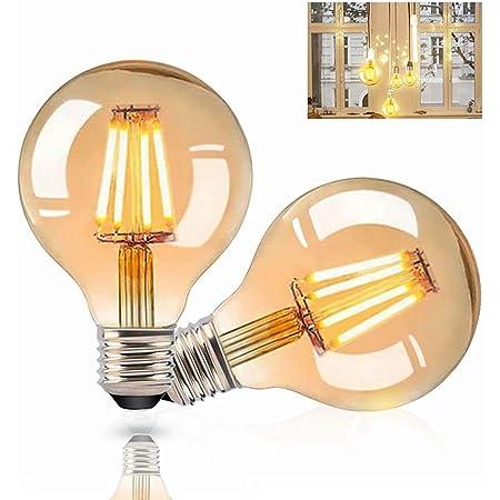 Gohytal Ampoule LED E27 Vintage, 2 PCS Ampoule Edison LED E27 G80 Lampe Décorative Rétro Ampoule Globe Vintage Lampe Antique 4W Blanc Chaud Ampoule LED pour éclairage Nostalgique et la Maison/Café/Bar