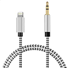[New Version] Aux Cable for Phone 7, Phone 3.5mm Aux Adapter Audio Cable Car Aux Cord Compatible with Phone 7/8/XR/XS/XS Max, Design for Car/Bluetooth Speaker/Headphones-Support iOS 13.0 (Silver)