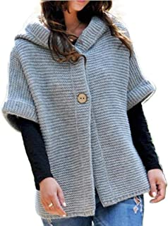Women's Auumn Half Sleeve Knit Soft Loose Hooded Sweater Cardigans Coats