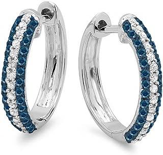 0.50 Carat (ctw) 10K Round Blue & White Diamond Ladies Huggies Hoop Earrings 1/2 CT, White Gold