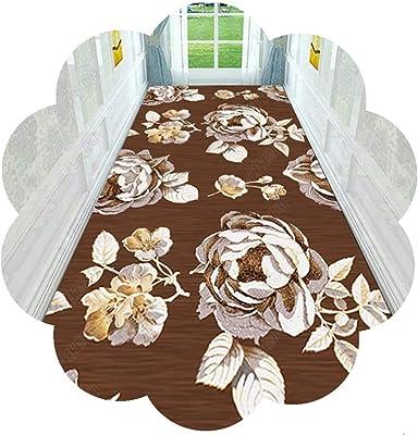 JIAJUAN Hallway Brown Runner Rug Non Slip Extra Long 3D Floral Pattern Indoor Living Room Kitchen Bedroom Floor Decor Carpet Washable (Color : A, Size : 90x350cm)