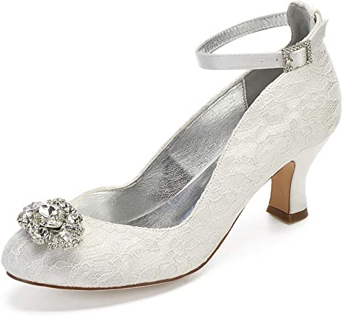 LHWAN femmes mary jane dentelle mi talon strass fleur mariage mariage chaussure tribunal mariage  acheter pas cher neuf