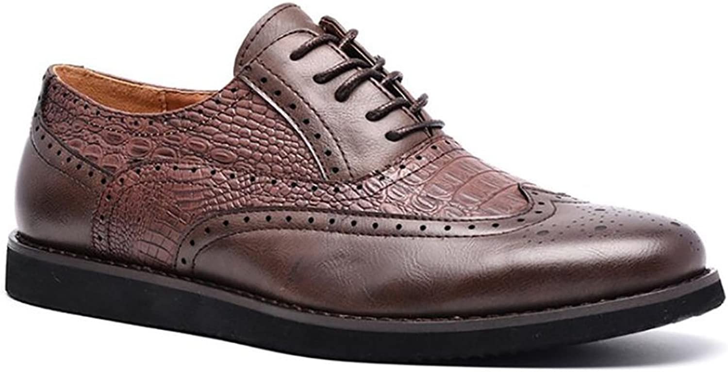 XUE Men's Business shoes Leather Spring Summer Comfort Walking shoes Breathable Driving shoes Lace-up for Casual Formal Business Work Brown
