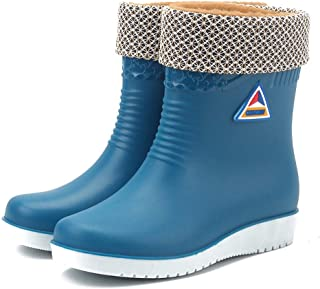 Mxssi Rubber Boots for Women PVC Ankle Rain Boots Waterproof Jelly Chelsea Boots Anti Slip Wellington Boots Water Shoes