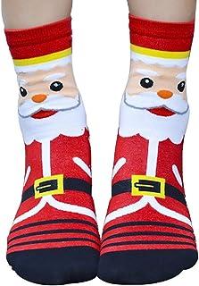 QHGstore, QHGstore 1 par de calcetines de las mujeres de las muchachas de la Navidad de Santa Claus 3D Patrón Planta de algodón