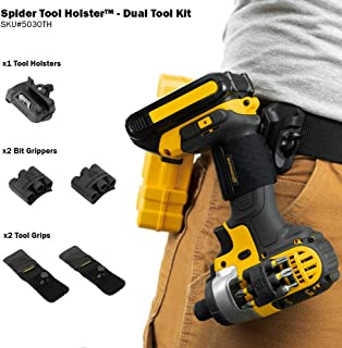 Spider Tool Holster DUAL TOOL KIT - 5 Piece Set for Carrying Tools and Organizing Drill Bits