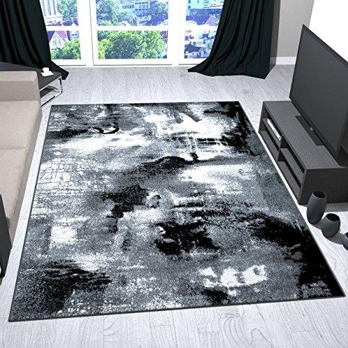 VIMODA Tapis Design Artistique Abstrait Toile Optique en Gris Noir Blanc Gris, 200x290 cm