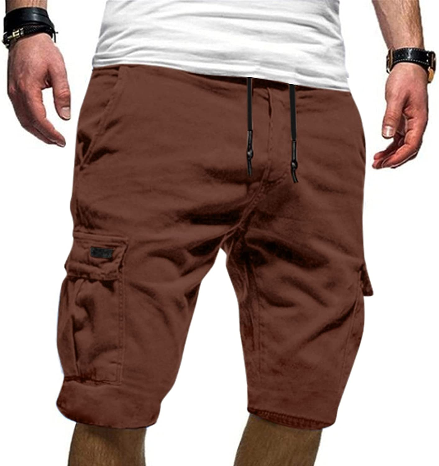 Maryia Mens Summer Cargo Shorts Plus Size Cotton Classic Relaxed Fit Loose Drawstring Elastic Waist Stretch Pants