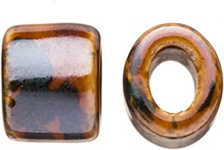 15pcs Moss Agate Porcelain Slider Beads for Licorice Leather - Oval ring Style Glaze finish 16x15.5mm