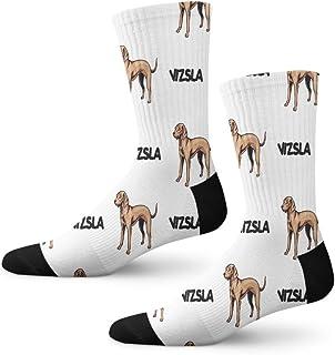 Vizsla Dog Breed Novelty Cuff Crew Men Women Socks Large