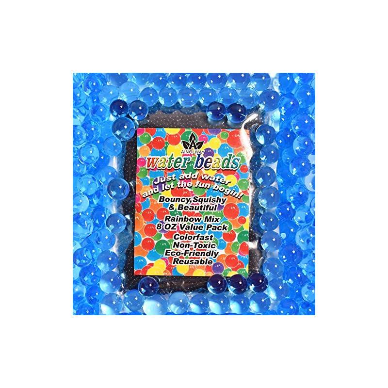 silk flower arrangements ainolway 8 oz water beads, original size water gel bead jelly growing balls for kids tactile toys, sensory toys, vase filler (blue)