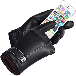 SGJFZD Gloves Winter Warm Touch Screen Outdoor PU Leather Gloves Driving for Man Windbreak Gloves (Color : Black, Size : OneSize)