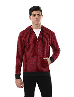 Off Cliff Striped Front Pockets Long Sleeves Hooded Jacket for Men