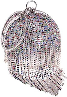 Fine Bag/Ball Pattern Women's Tassel Clutch Bag for Bridal Wedding Cocktail Handbag Prom Bag Banquet Bag (Color : Multi-Colored, Size : One Size)