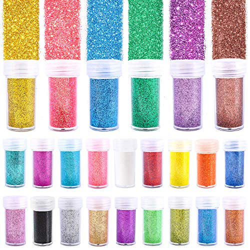 Fine Glitter 24 Colors Craft Glitter for Resin Makeup for Body Nail Face Hair Eyeshadow Lip Gloss Making