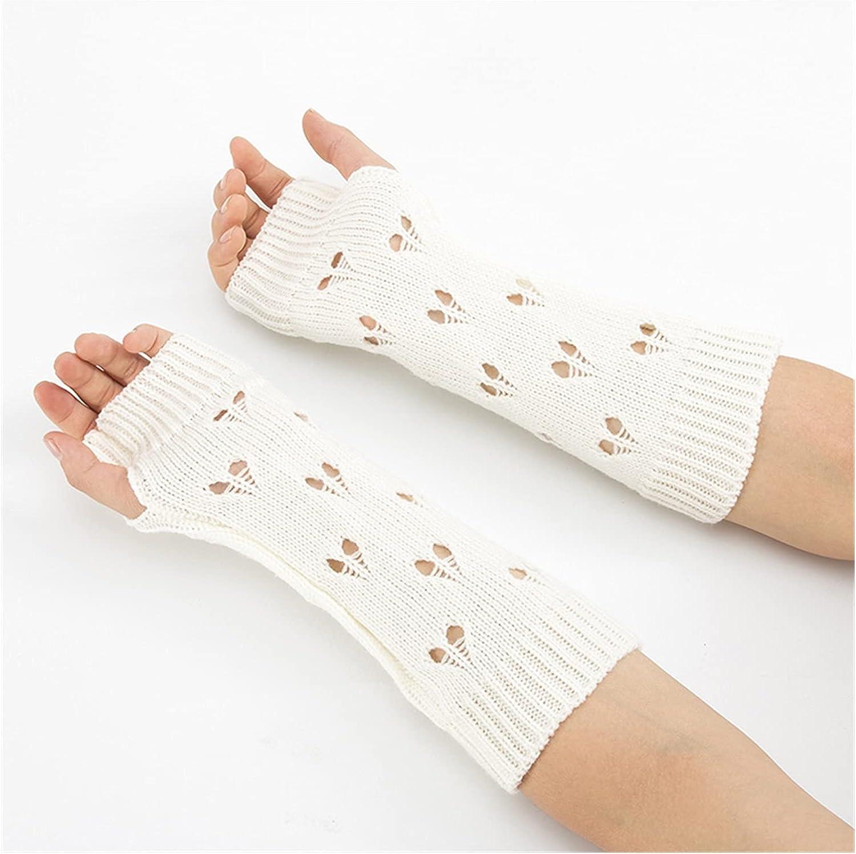 CHHNGPON Ladies Gloves Women Gloves Stylish Hand Warmer Winter Gloves Women Arm Crochet Knitting Hollow Heart Mitten Warm Fingerless Gloves (Color : White, Gloves Size : One Size)