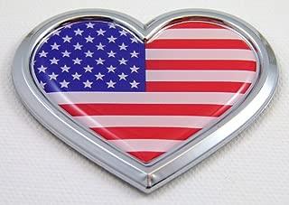 Car Chrome Decals CBHRT228 USA Heart Flag Chrome Emblem Car Decal 3D Sticker Badge Bumper American