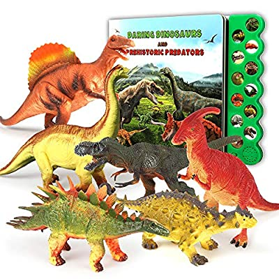 Olefun Dinosaur Toys for 3 Years Old & Up - Dinosaur Sound Book & 12 Realistic Looking Dinosaurs Figures Including T-Rex, Triceratops, Utahraptor, for Kids, Boys and Girls from Olefun