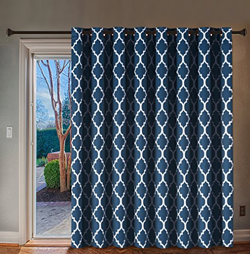 H.VERSAILTEX Extra Wide Blackout Curtain 100x84 Inches Thermal Insulated Curtain for Sliding Glass Door -Grommet Top Patio Door Curtain - Moroccan Tile Quatrefoil Pattern, Navy and White