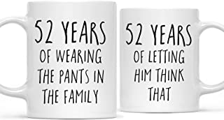 Andaz Press Funny 52nd Wedding Anniversary 11oz. Couples Coffee Mug Gag Gift, 52 Years of Wearing The Pants in The Family, Letting Him Think That, 2-Pack with Gift Box for Husband Wife Parents