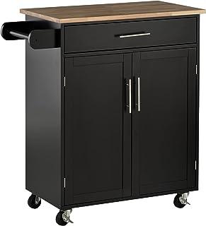 Chariot de service desserte de cuisine à roulettes îlot de cuisine avec tiroir placard et porte torchon - 83l x 45P x 91,5...