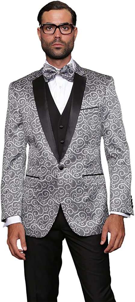 Statement Men's 3PC Tuxedo Satin We OFFer at cheap prices Trim Matching Jacket New York Mall Vest w B