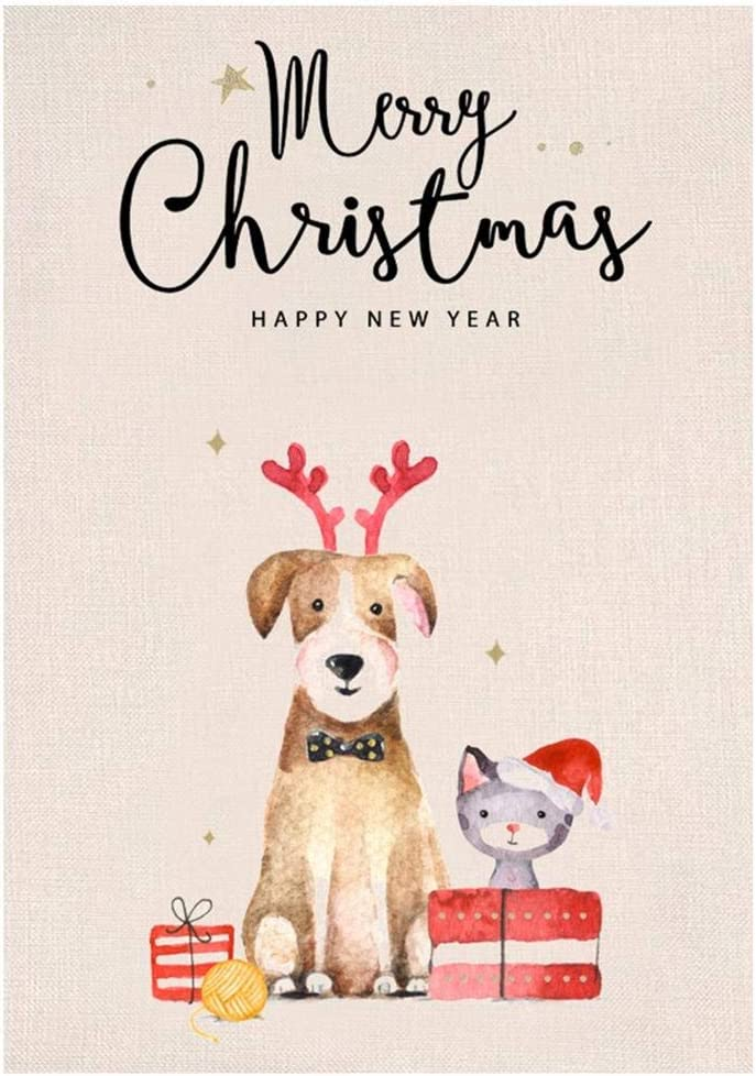 JETTINGBUY Merry Christmas Small Dog Garden Flag Double Sided Happy New Year Burlap Yard Outdoor Decor 12.5 x 18 Inches
