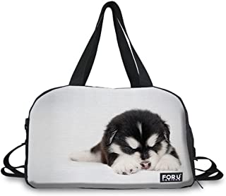FOR U DESIGNS Women's Cute Puppy Print Durable Travel Sport Fitness Duffel Bag L white
