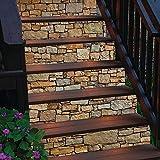 Bestine 6PCS 3D Treppenaufkleber, Umweltfreundliche Selbstklebende PVC-Treppenaufkleber Abnehmbare wasserdichte Treppenaufkleber für Hauptschlafzimmer Wohnzimmer Dekor (A) - 3