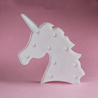 Unicorn LED Night Light Decorative Marquee Signs Light Party Supplies-Wall Decoration for Living Room,Bedroom&Birthday Gift for Kids(Battery Operated)(White Unicorn Head)