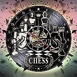 ZYQXI Reloj Pared Vinilo Colorido Juego de ajedrez Tablero de ajedrez de Vinilo Reloj Pared Reloj Pared Antiguo Reloj Pared Decoración de Arte Colgante Entre Amantes Club de ajedrez Regalo de ajedrez