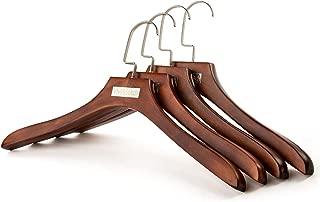 Vivi&Stitch - Coat Hangers Wooden, 4 Pack Walnut Hangers, Wood Suit Hanger with Wide Shoulder, High-Grade, 360° Swivel Hook, Heavy Duty Clothes Hangers for Suits, Jacket with Swivel Hook