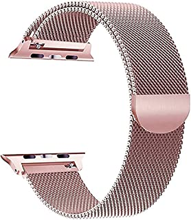 Milanese Loop for Apple Watch 44mm 42mm, Stainless Steel Alloy Replacement Watch Band for iWatch Series 4/3/2/1 (Pink Gold)