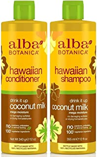 Alba Botanica Drink It Up Coconut Milk, Hawaiian Duo Set Shampoo and Conditioner, 12 Ounce Bottle Each