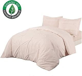 King Linens 100% Cotton Duvet Cover Set Pinch Pleat Pintuck Unique Solid Color 3PCS Twin Queen King (Twin, Pink)