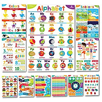 Sproutbrite Educational Posters for Toddlers - Classroom Decorations - Kindergarten Homeschool Supplies Materials - Preschool Learning Decor - ABC Poster - 11 Charts for Distance Learning