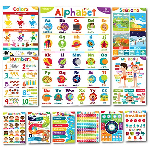 """Sproutbrite Educational Posters & Classroom Decorations & Decor for Kids Preschool - 11 - 20""""x14"""" Early Learning Charts for Toddlers, Pre-K, Kindergarten, Daycares & Home School Teachers"""