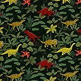 French Terry, Sweatshirtstoff mit Dinos auf Grün als