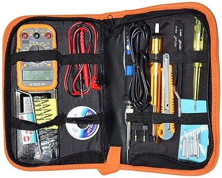 Kit de Soldador Eléctrico Set de Soldador Electrónica de Estaño Temperatura Ajustable 220V 60W con Multímetro