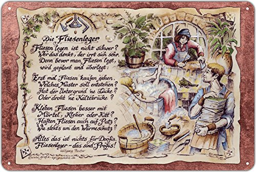 Die Staffelei Geschenk Fliesenleger Blechschild 30 x 20 cm
