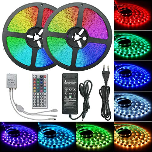 Miwatt Led Strip Lights Kit 30m 450 leds 5050 SMD RGB LED Flexible Lights with 44key ir Controller and Power Supply for Home,Kitchen,Trucks,Sitting Room and Bedroom Decoration.