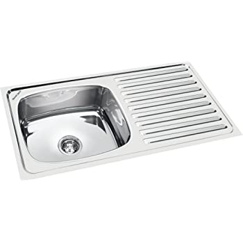 Sincore Kitchen Sink Sunshine Custom 32 In X 20 In X 8 In Glossy Finish Single Bowl With Drainboard 304 Grade Stainless Steel Amazon In Home Improvement