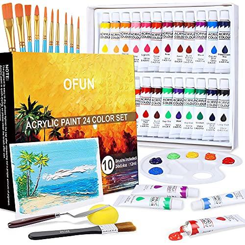 OFUN Colori Acrilici per Dipingere, Tempere per dipingere 24 x 12ml Kit Pittura Colori Brillanti con Pennelli Tempere, Canvas, Tavolozza e Spatola per Bambini, Principianti e Professionisti