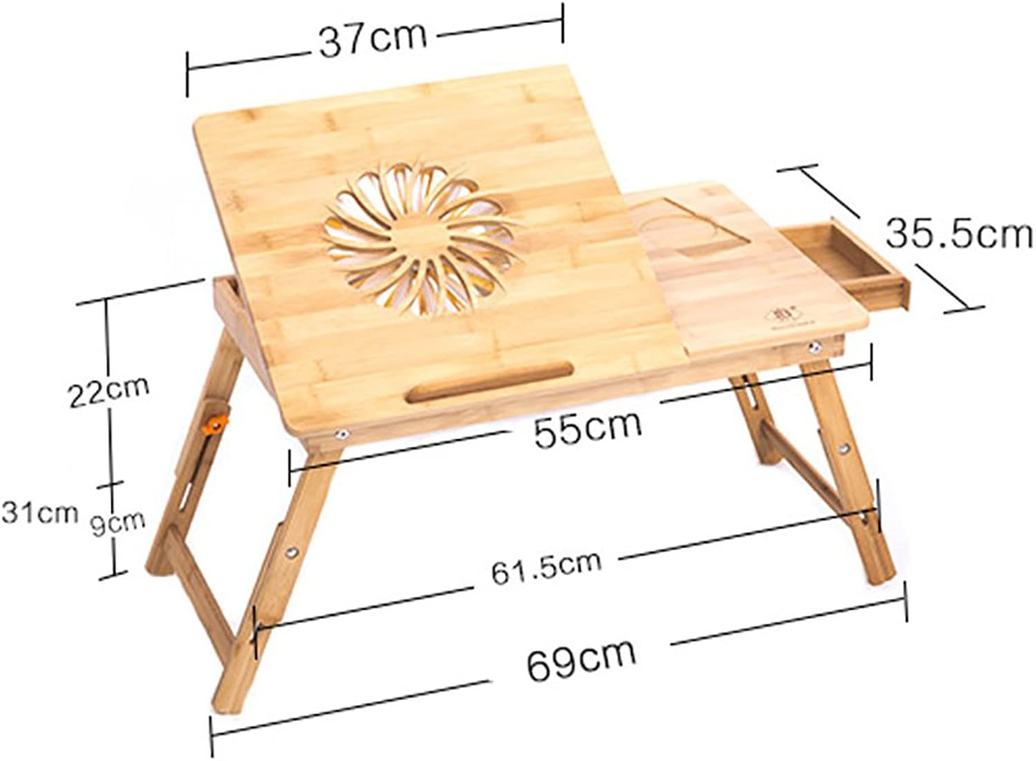 Folding Table Bamboo Laptop Table fold Bed Table Adjustable Height with Drawer Desk Sofa Portable Table