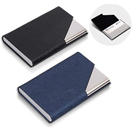 homEdge Business Card Holder, Slim Professional 2 Packs PU Leather+Stainless Steel Business Card Case for Traveling and Business-Black and Blue