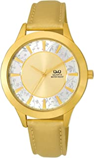 Q&Q Men's Gold Dial Leather Band Watch - Q845-100Y