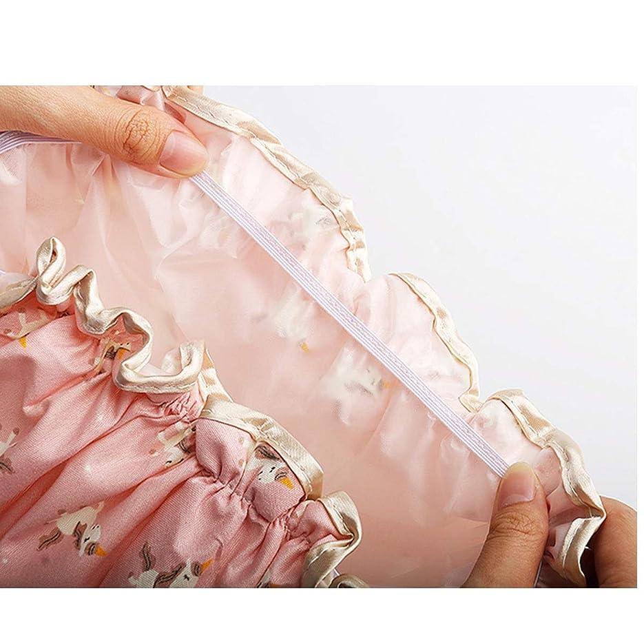正しい役立つこんにちはHENGTONGTONGXUN シャワーキャップ、シャワーキャップ防水、成人用女性用ダブルシャワーキャップ、バスタブカバー、シャワーヘッドカバー、アンチキャップ、オプションで6色 (Color : Pink C)