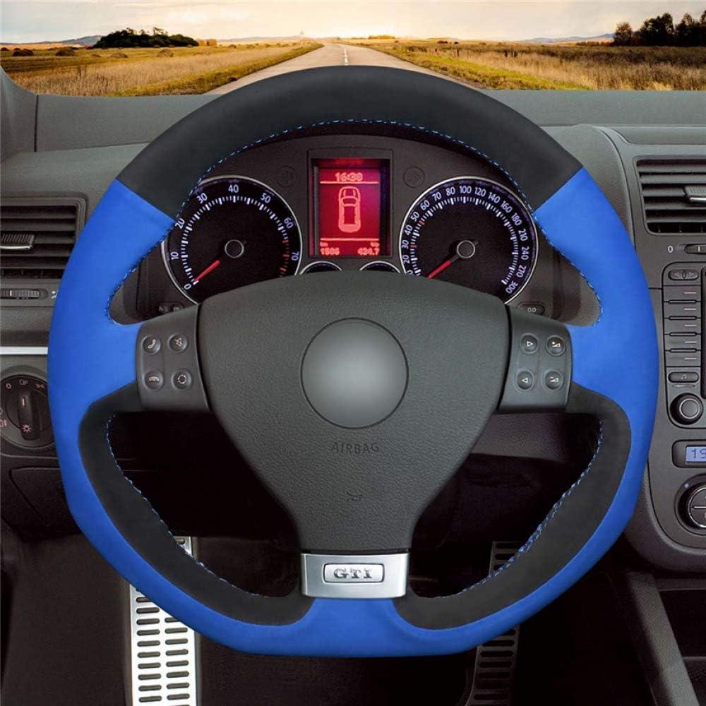 Hcdswsn Blau Schwarz Wildleder Hand Nähen Komfortable Auto Lenkradbezug Für Volkswagen Golf 5 Mk5 Gti Vw Golf 5 R32 Passat R Gt Sport Freizeit