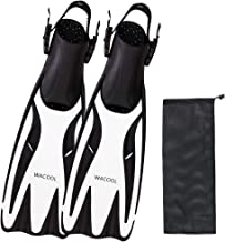 WACOOL Adult Short Light Travel Size Fins Long Blade Fins Flippers for Snorkeling Diving Scuba or Swimming Training